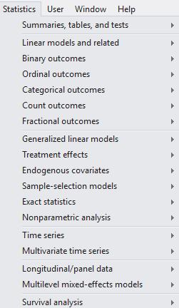 Statistics menu